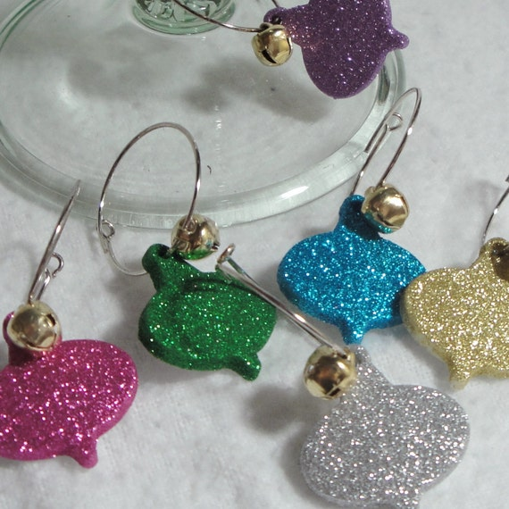 Very sparkly christmas ornament wine glass charms set of