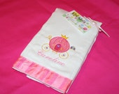 Cinderella Carriage - Embroidered Burp Cloth for a Girl