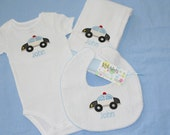 I Want to be a Policeman - Embroidered and Monogrammed - Burp Cloth, Bib and Onesie Set