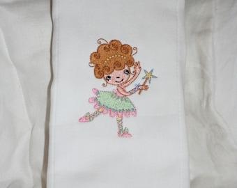 Ballerina Burp Cloth, Ballet Tutu Burp Cloth, Fairy Burp Cloth, Embroidered Burp Cloth for a Girl