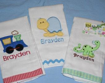 Train Burp Cloth, Turtle Burp Cloth, Dinosaur Burp Cloth, Appliqued Burp Cloths, Embroidered and Monogrammed Burp Cloths for Boy