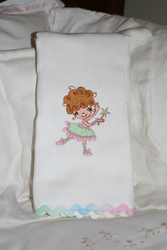 I Want to be a Ballerina - Embroidered Burp Cloth for a Girl