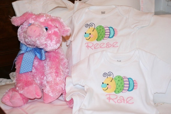 Caterpillar Onesie, Embroidered and Monogrammed Onesie for a Girl