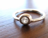 White Sapphire Recycled Silver Pebble Ring