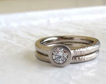 Diamond Pacific Ring wedding set bezel set diamond engagement ring with matching hammered wedding band