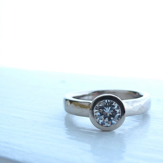 All Weather Ring, bezel set low profile diamond and white gold engagement ring