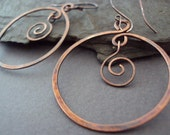 Hand Hammered Copper Hoop Earrings, Hand Forged Copper Swirl Earrings, Rustic Copper, Artisan Earrings, Hammered Jewelry