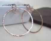 Hand Hammered Copper Hoop Earrings, Earthy Copper Jewelry, Hand Forged Rustic