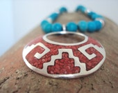 Southwestern Necklace, Orange and Turquoise Necklace, Upcycled Jewelry