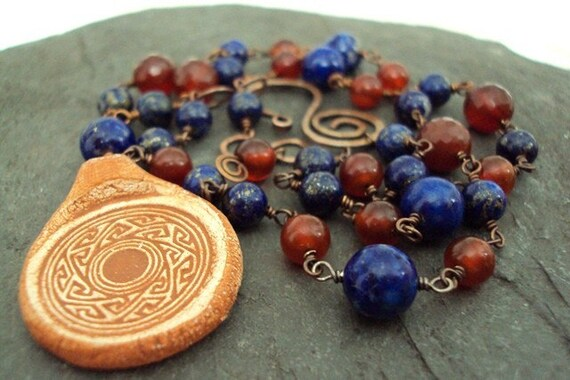 Denim Lapis and Carnelian Necklace with Southwestern Pottery Pendant