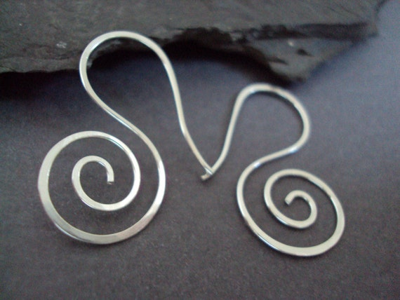 Hand Hammered Sterling Swirl Earrings, Sterling Spiral Jewelry, Handforged Silver