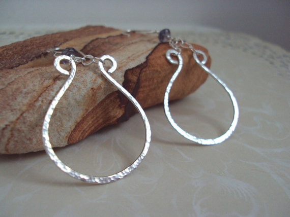 Hammered Sterling Earrings, Sterling and Iolite Earrings, Organic Sterling Earrings, Silver and Blue, Under 30