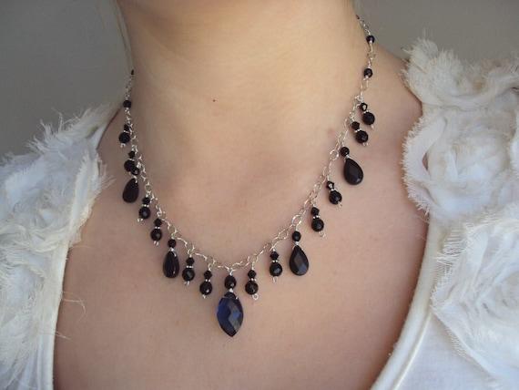 Kyanite Necklace, Black Onyx Necklace, Black and Blue, Deep Ocean Blue, Under 75