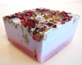 Lilac Rose Vegan Handmade Soap, made with real roses, lilac and coconut milk base.