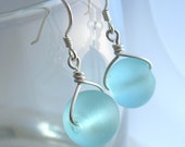 Aqua Blue Recycled Sea Glass Earrings in Sterling Silver, Eco Friendly Jewelry