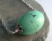 Mint Green Necklace, Chunky Jewelry, Shabby Clay Bead, Distressed, Antiqued Chain