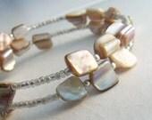 Beige Memory Wire Bracelet, Oatmeal Sea Shell Cuff, Beach Jewelry