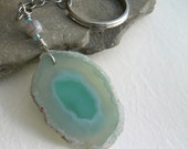 Agate Slice Key Chain, Light Teal Key Ring