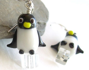 Glass Penguin Earrings, Black & White Bird Earrings, Penguin Jewelry
