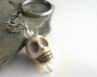 White Stone Skull Key Chain, Goth Bag Charm, Men's Key Ring, Halloween Keychain