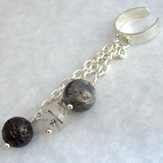 Balls & Chains Ear Cuff, Lava, Larvikite, Tourmalinated Quartz Cartilage Chain Earring