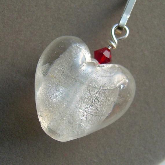 Glass Heart Zipper Pull, Bag Charm, Crimson Red Crystal, Valentine Heart