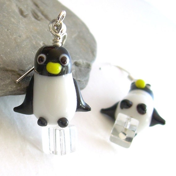 Glass Penguin Earrings, Black & White Bird Earrings, Penguin Jewelry, Winter Themed Gifts