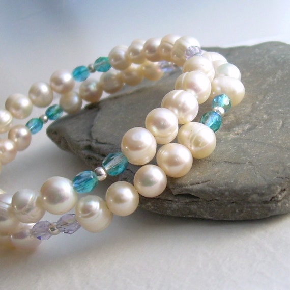 Cream Pearl Memory Wire Bracelet, Turquoise & Mauve Crystal, Arthritis Friendly White Pearl Cuff