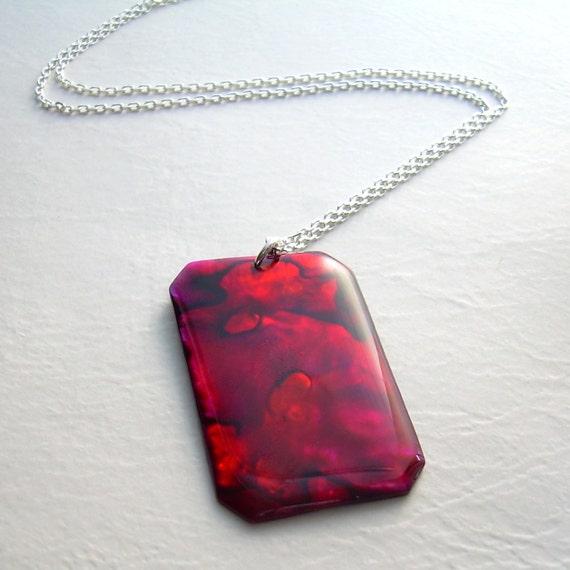 Red Paua Abalone Necklace, Crimson Sea Shell Pendant