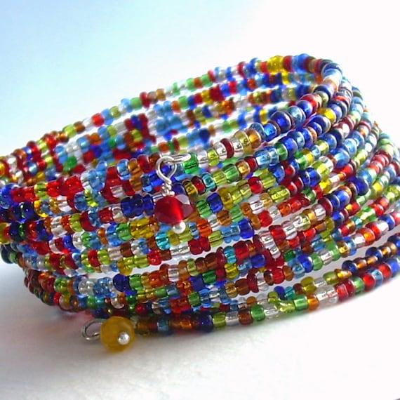 beaded wrap bracelet rainbow jewelry colorful by cindylouwho2