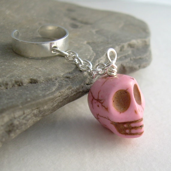 Pink Skull Ear Cuff, Punk Skeleton Single Earring, Skull Jewelry