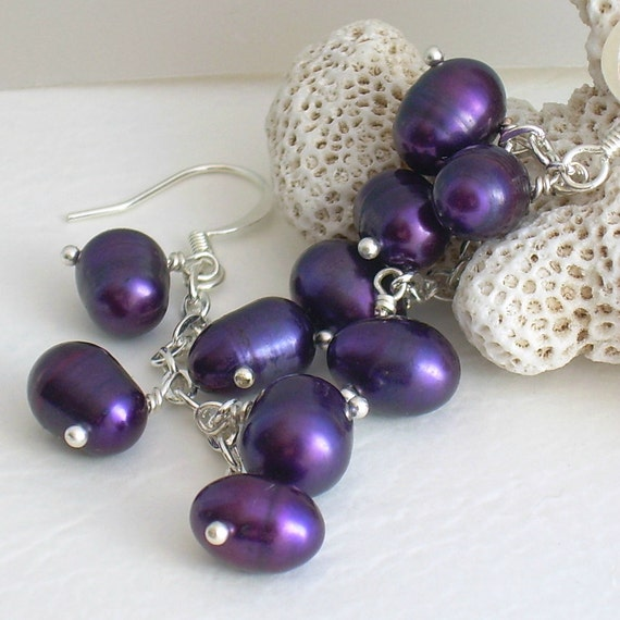 Plum Purple Pearl Earrings on Chains, Mini Eggplants, Purple Jewelry