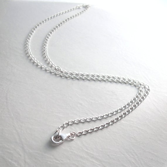 Long Sterling Silver Chain, 24 inch, 60 cm, Oval Curb Chain, Men's Necklace