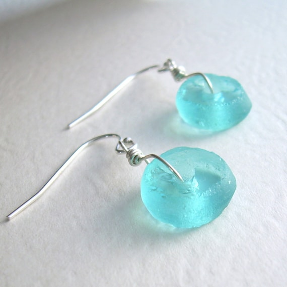 Round Turquoise Earrings; Aqua Blue Recycled Glass Jewelry, Eco Friendly