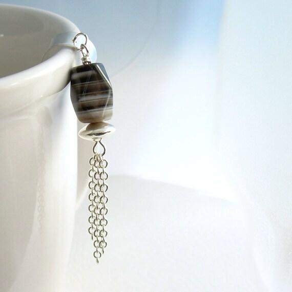 Chain Ear Cuff Jewelry, Agate Stone Earcuff,  No Pierce Cartilage Earring