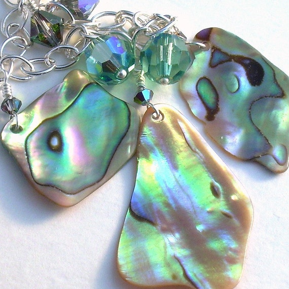 Paua Abalone Shell Necklace: Crystal, Gold & Green, Natural Beach Jewelry