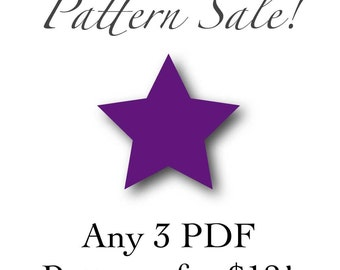 SALE- Any 3 PDF Patterns for 12.00