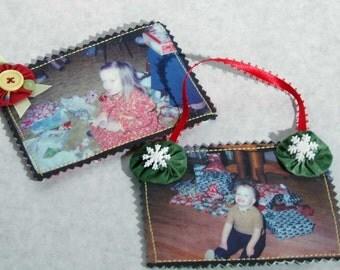 Holiday Photo Fabric Ornaments Pattern - PDF