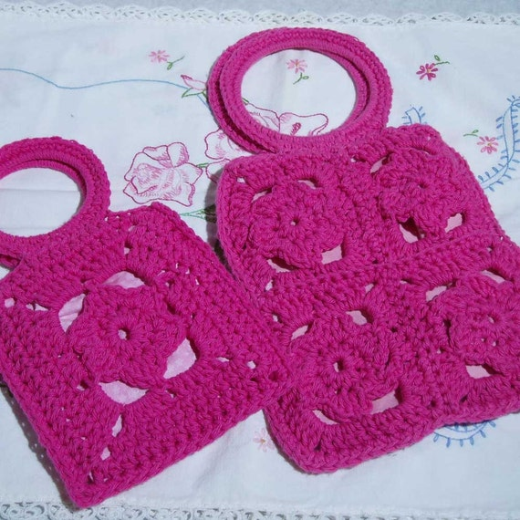 Mother Daughter Rose Purses Crochet Pattern PDF