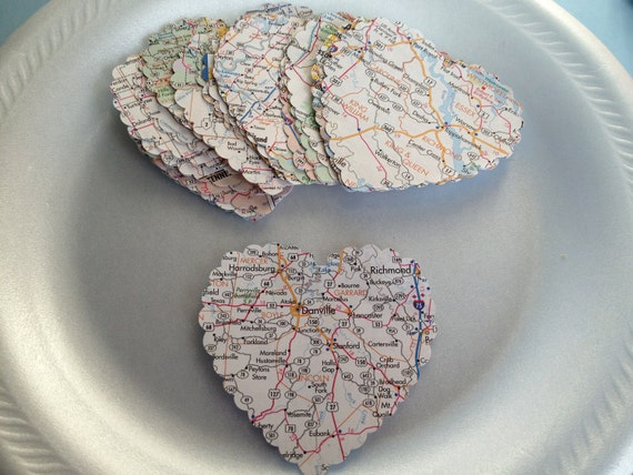 60 Large Map Hearts, Scalloped Die Cuts, Gift Tags, DIY Paper Supply, Scrapbook, Garland,  Cards, Christmas Decorations, Holidays, PAFA