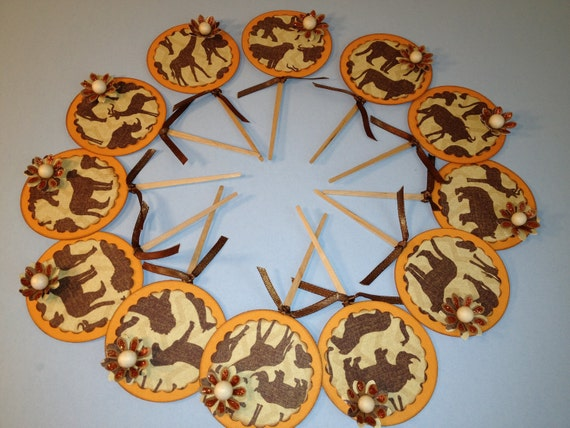 Treasury african cupcake toppers 12 cake decorations party for African party decoration
