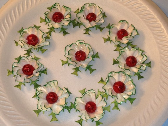 Handmade Flowers, Christmas Paper Flowers, Embellishments, Mixed Media, Scrapbooking Supplies, Christmas in July, PAFA