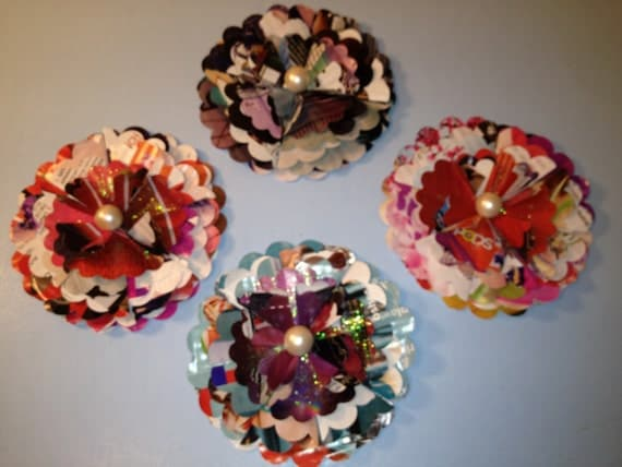 Package Toppers, Shabby Chic Flowers, Upcycled Recycled Magazines, Eco Friendly, Embellishments, Mixed Media, Altered Art, PAFA