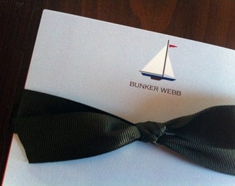Personalized Sailboat note cards
