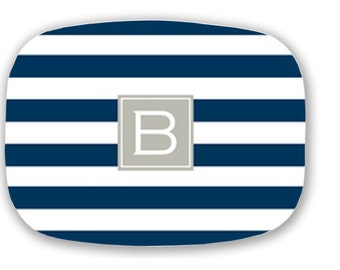 Personalized Melamine Stripe initial Platter