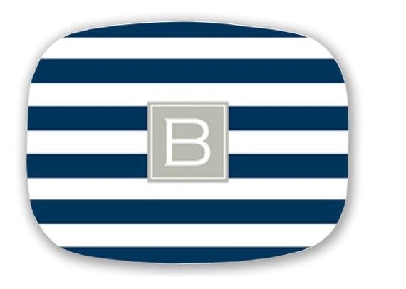 Personalized Melamine Stripe initial Platter