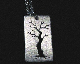 Pendant, Sterling silver cut out winter tree
