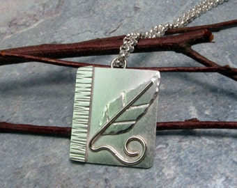 Solitary Sterling Silver leaf pendant
