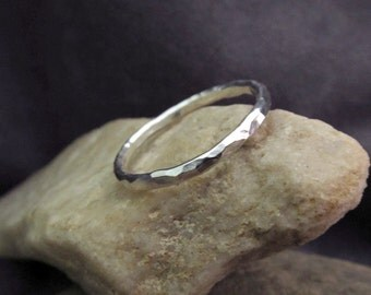 Hand Forged Sterling Silver Hammered Slim Band