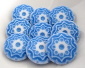 10 Blue & White Etched Lucite Shank Buttons 19mm Diameter